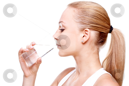 Beautiful woman drinking water stock photo, Beautiful woman drinking water on a white background by Artem Zamula