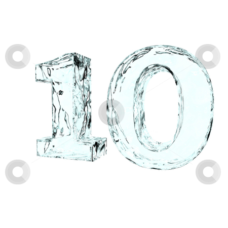Frozen ten stock photo, Frozen number ten - 10 - on white background - 3d illustration by J?