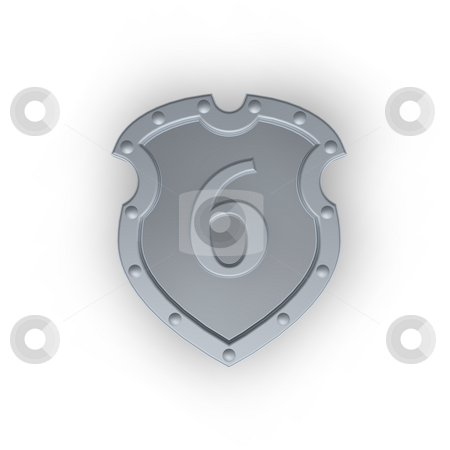 Number six on metal shield stock photo, Metal shield with the number six on white background - 3d illustration by J?