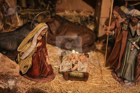 Nativity scene stock photo, Nativity scene, virgin Mary and baby Jesus in the crib by Porto Sabbia