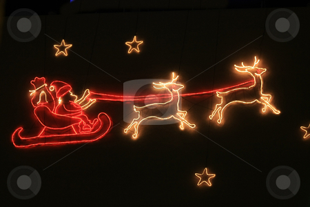Sleigh ride christmas lightning stock photo, A holiday decoration lightning, santa claus and his sleigh by Porto Sabbia
