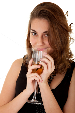 Woman with a glass with champagne stock photo, Beautiful woman with a glass with champagne on white background. Focus on woman's eyes. by Iryna Rasko