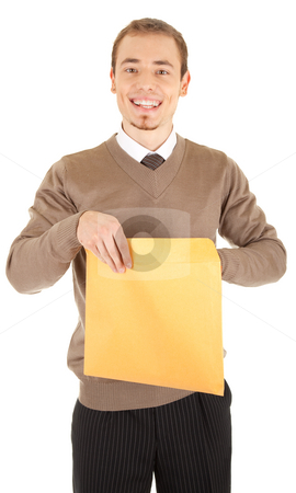 Young well-dressed man with an envelope. stock photo, Young well-dressed man in formalwear is holding a open yellow envelope. Isolated on white background. by Iryna Rasko