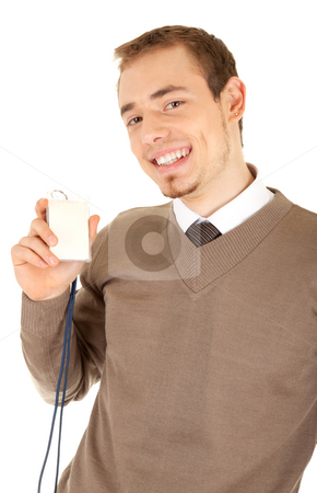Well-dressed smiling man is holding a card stock photo, Young well-dressed smiling man in formalwear is holding a white empty card with a lace. Isolated on white background. by Iryna Rasko