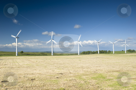 Wind Farm Yorkshire stock photo, Power generation wind farm 35m in height to the hub and have a rotor diameter of 37m by Stephen Meese