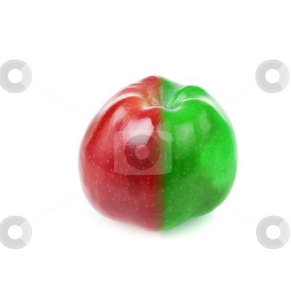 Fresh apple with red and green half stock photo, Fresh apple with contrast red and green half by Iryna Rasko