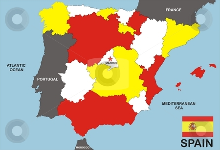 Spain Map stock photo, Map of Spain and Spanish flag illustration by Tudor Antonel adrian