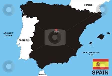 Map Of Spain stock photo, Map of Spain and Spanish flag illustration by Tudor Antonel adrian