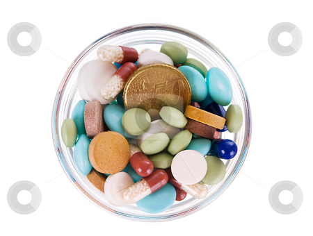 Fifty euro cents in saucer full of pills stock photo, Fifty euro cents in glass saucer full of different pills on white background by Iryna Rasko