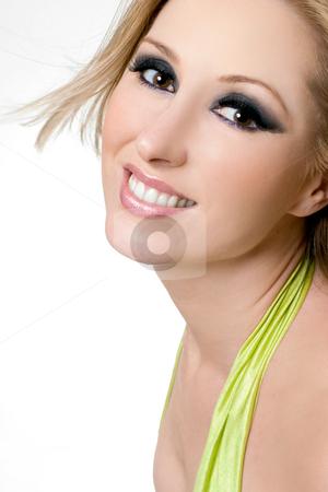 Smiling Female with dramatic eyes stock photo, Smiling female with dramatic eye makeup by Leah-Anne Thompson