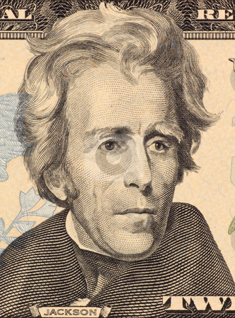 Andrew Jackson stock photo, Andrew Jackson on 20 Dollars 2006 Banknote from U.S.A. Seventh president of the United States (1829-1837). by Georgios Kollidas