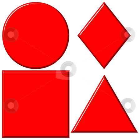 3D Red Shapes stock photo, 3d red shapes isolated in white by Georgios Kollidas