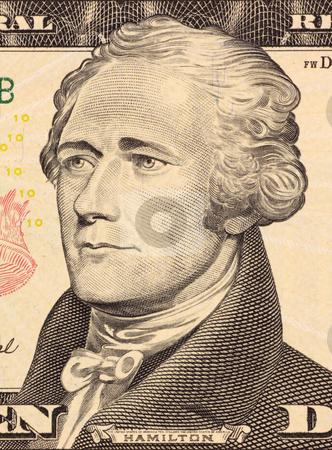 Alexander Hamilton stock photo, Alexander Hamilton on 10 Dollars 2006 Banknote from U.S.A. First Secretary of the Treasury. by Georgios Kollidas