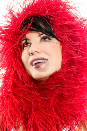 Fashion and Style - Woman Red Vogue stock photo, Alluring woman looking glamorous in red. by Leah-Anne Thompson