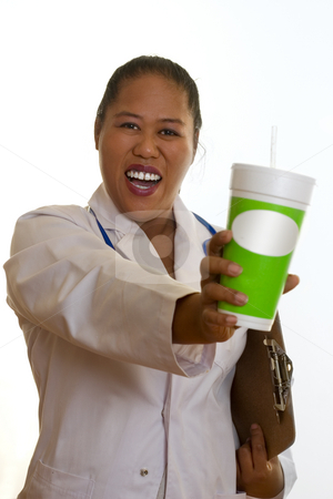 Healthy Choices stock photo, Healthy life, healthy choices.   Ethnic doctor, nurse or dietician, holding a fresh juice by Leah-Anne Thompson