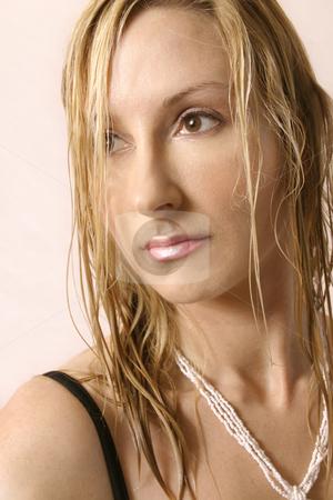 Bikini Girl stock photo, Natural beauty wearing a bikin, shell neclace.  She has semi wet hair..  Close up by Leah-Anne Thompson