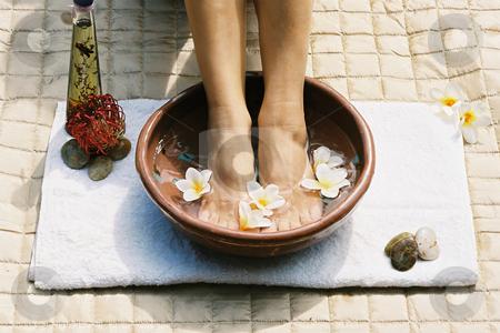 Aromatherapy footsoak stock photo, Beauty treatment(film) by Leah-Anne Thompson