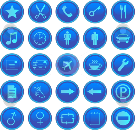 Web icons set stock vector clipart, Web icons set blue by Vadim Pats