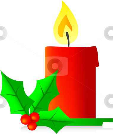 Christmas candle stock vector clipart, Christmas candle vector illustration red by Vadim Pats
