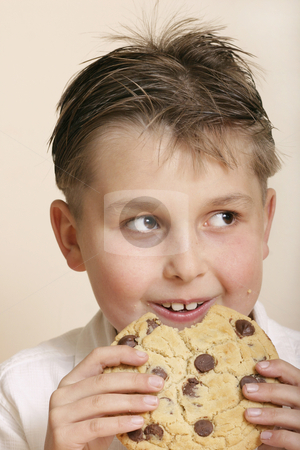 Moster cookie stock photo, Boy with a very large cookie A few crumbs on his face.Camera Model Name    Canon EOS 300D DIGITALShooting Date/Time    4/08/2004 4:27:40 PMShooting Mode    ManualTv( Shutter Speed )    1/250Av( Aperture Value )    8.0Metering Mode    Center-weighted averagingISO Speed    100Lens    85.0mmFocal Length    85.0mmImage Size    3072x2048Image Quality    RAWFlash    OffWhite Balance    CloudyParameters    Contrast          Normal    Sharpness         Normal    Color saturation  Normal    Color tone        NormalColor Space    Adobe RGBFile Size    6243KBDrive Mode    Single-frame shootingOwner's Name    Leah-Anne ThompsonCamera Body No.    0530102810 by Leah-Anne Thompson