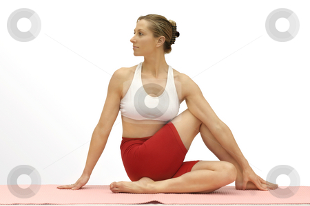 Spinal twist stock photo, Twisting the spine laterally.   