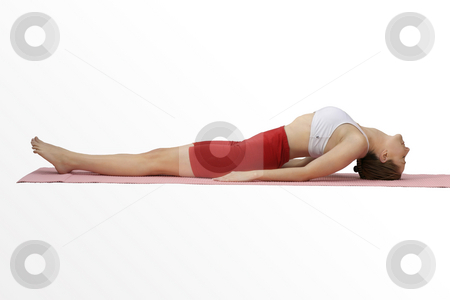 Matsyasana (Fish Pose) stock photo, Improves postureStrengthens muscles in upperr back and neckstimulates muscles in front of throat and stomach by Leah-Anne Thompson