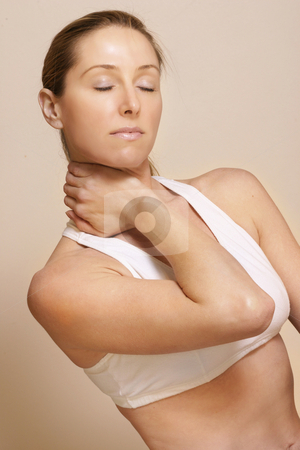Sporting injury stock photo, Neck injury by Leah-Anne Thompson