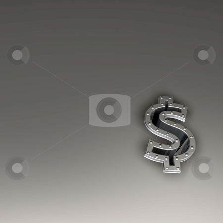 Investment stock photo, Metal dollar symbol with riveted frame border - 3d illustration by J?