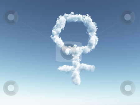Female stock photo, Clouds makes the shape of female symbol - 3d illustration by J?