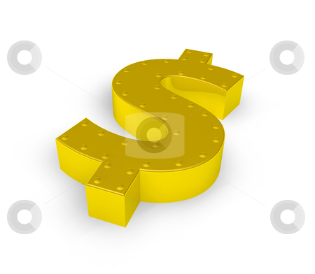 Golden dollar symbol stock photo, Golden dollar symbol with rivets on white background - 3d illustration by J?