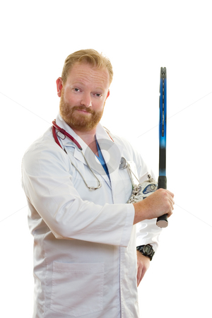 Fit and Healthy stock photo, Medical practitioner holding a tennis racket. by Leah-Anne Thompson