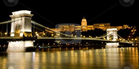 Night view of Buda Castle and Chain Bridge stock photo, Night view of Buda Castle and Chain Bridge with illumination by Iryna Rasko