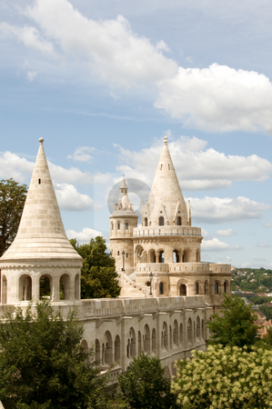 Budapest castle towers fabulous looking stock photo, Fairytale looking Budda castle wall and towers by Iryna Rasko