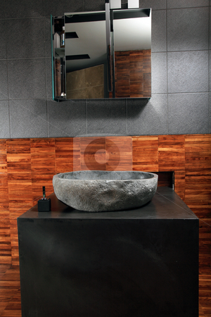 Design of a bathroom  stock photo, Modern style interior design of a bathroom by Portokalis