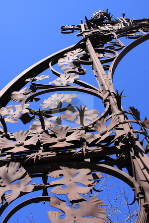 Lamp column stock photo, Ornate Detail of a lamp-post, Barcelona by ARPAD RADOCZY