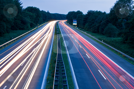 Tail Lights stock photo, Cars speeding on highway by Interlight
