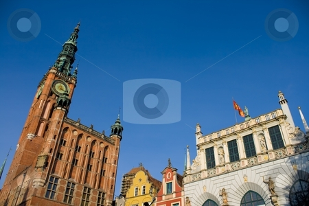 Historic Part of Gdansk stock photo, Historic buildings in Gdansk, Pomerania, Poland. by Interlight