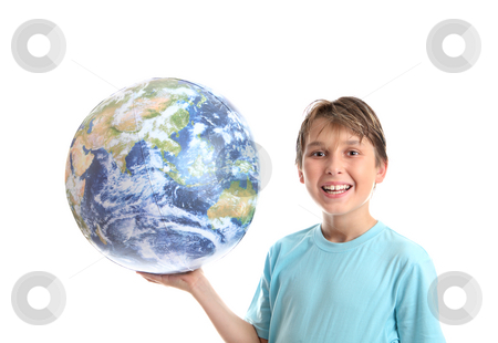 Smiling boy with world in palm of his hands stock photo, A smiling, cheerful boy student holding the world earth in the palm of his hand. by Leah-Anne Thompson