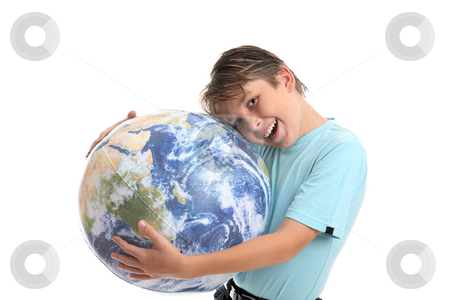Love and care for the Earth or environment stock photo, A young boy with his hands hugging the world earth ball.  He is leaning his head into the earth affectionately and smiling.  Concept environmental protection, world care, travel eco-tourism, etc by Leah-Anne Thompson