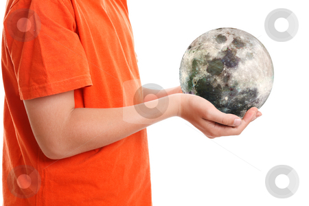 Hands cupping holding our moon stock photo, Two hands cupping the moon. Our moon is a dry orb whose surface is studded with craters and strewn with rocks and dust (called regolith). The moon has no atmosphere   Moon image December 7 1992.   The dark areas are lava rock filled impact basins.  The colour is due to the ccd being sensitive to infrared wavelengths of light beyond human vision. by Leah-Anne Thompson