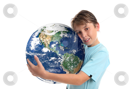 Love and care for our world planet earth  stock photo, A boy embraces our beautiful planet earth.   Concept, save the planet, environmental conservation, climate change, geopolitical and other related global issues. by Leah-Anne Thompson