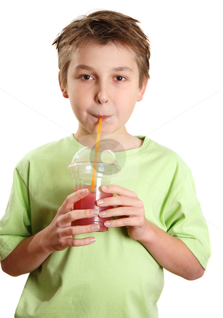 Child drinking a juice stock photo, A child drinking a fresh berry juice packed full of vitamins and healthy nutrition. by Leah-Anne Thompson