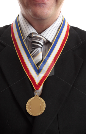 First in Business stock photo, Successful businessman in recognition awarded gold medal by Leah-Anne Thompson