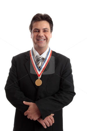 Salesman of the Year stock photo, Top selling salesman standing proudly with award by Leah-Anne Thompson