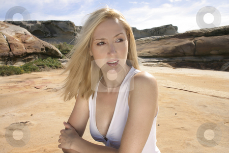 Girl im the outback stock photo, Girl rests in an aussie landscapeNatural light + silver reflector by Leah-Anne Thompson