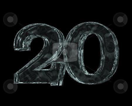 Frozen twenty stock photo, Frozen number twenty - 20 - on black background - 3d illustration by J?