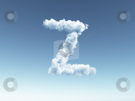 Cloudy letter z stock photo, Clouds forms the uppercase letter Z in the sky - 3d illustration by J?