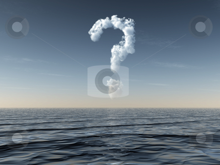 Quest stock photo, Cloudy question mark at water landscape - 3d illustration by J?