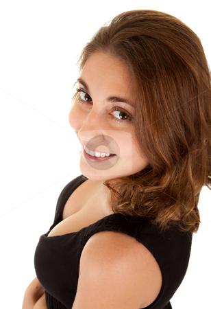 Smiling woman in a black dress stock photo, Beautiful smiling woman in a black dress on white background by Iryna Rasko