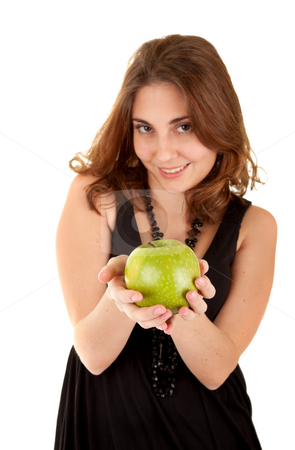 Beauty woman with fresh green apple  stock photo, Beauty woman with fresh green apple on white background. Focus on the apple. by Iryna Rasko